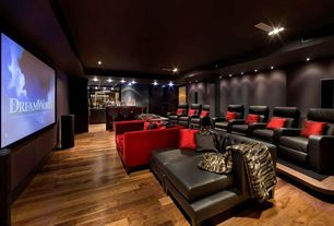 Modern Home Theater with Hardwood floors