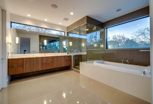 Contemporary Master Bathroom with Undermount sink, Double sink, Shower, wall-mounted above mirror bathroom light, Rain shower