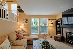 Country Living Room with Carpet, Built-in bookshelf, Standard height, Fireplace, stone fireplace, Balcony, double-hung window