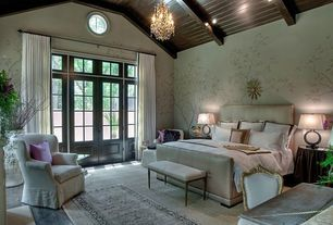 Traditional Master Bedroom with Quorum bohemian marien 4 light chandelier, can lights, Baroque side chair, Transom window