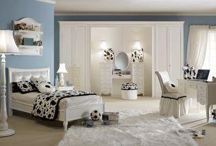 Eclectic Kids Bedroom with Crown molding, Carpet, Built-in bookshelf, no bedroom feature, Paint, Standard height