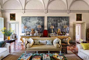Mediterranean Living Room with Standard height, French doors, simple marble floors