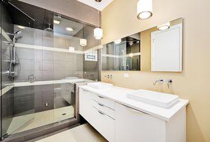 Contemporary Master Bathroom with Artos wall mounted bathroom faucet with single handle, Handheld showerhead, Pendant light