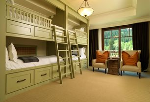 Traditional Guest Bedroom with High ceiling, Pottery Barn Soho Silk Grommet Curtain - Espresso, Carpet, Crown molding