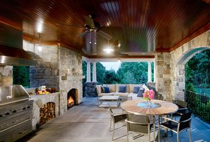 """Rustic Porch with Kichler Crystal Bay Climates Satin Black 52"""" Outdoor Ceiling Fan w/ 371012 Blades, exterior stone floors"""