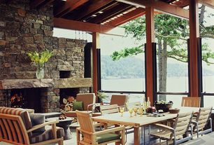 Contemporary Porch with exterior stone floors, Skylight, Stacked stone fireplace, Screened porch, picture window