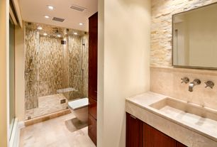 Contemporary Master Bathroom with Standard height, Slate counters, frameless showerdoor, Paint 1, Flush, Shower, Wall Tiles