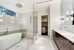 Modern Master Bathroom with Daltile Pearl White Ceramic Field Tile, Freestanding, Double sink, Rain shower, Wall sconce