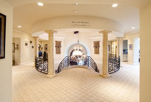 Traditional Hallway with Standard height, Columns, Paint, Carpet, can lights