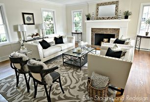 Contemporary Living Room with Bernhardt Haven Wood Framed Mirror, Safavieh Mercer Modern Kenny Armchair, Crown molding
