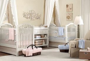 Traditional Kids Bedroom with Antique spindle crib, Standard height, Cable knit moses basket bedding & espresso basket set