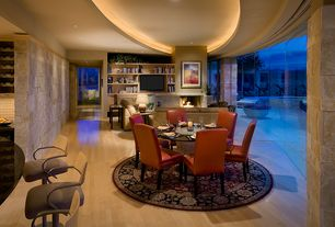 Modern Great Room with Fireplace, Standard height, Hardwood floors, can lights, stone fireplace, Built-in bookshelf