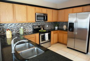 Modern Kitchen with Msi interlocking random sized mesh mounted glass and natural stone mosaic tile in california gold