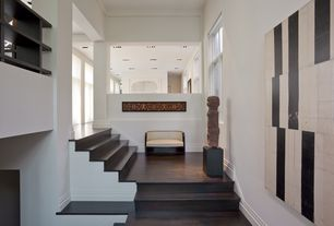Contemporary Staircase with High ceiling, Hardwood floors, Loft