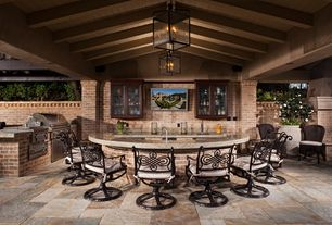 Craftsman Porch with Screened porch, Home styles cast aluminum rocking swivel dining arm chair, Outdoor kitchen, Fence