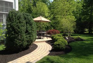 Traditional Landscape/Yard with True Dwarf English Boxwood, exterior brick floors, Pathway, Aged Cordobay Pavers