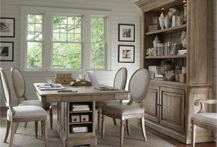 Traditional Home Office with Ballard designs josephina bonnet top bookcase - large, Hardwood floors, High ceiling