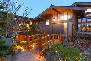 Asian Landscape/Yard with exterior stone floors, Japanese maple tree, Wooden garden bridge