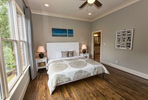 Transitional Guest Bedroom with Sophie Tufted White Faux Leather Queen-size Platform Bed, Hardwood floors, Ceiling fan