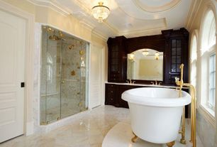 Traditional Master Bathroom with Double sink, Rain shower, Crown molding, flush light, specialty door, Glass panel, Flush