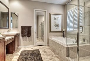 Contemporary Master Bathroom with Jeffery Court Light Travertine Tumbled 4 in. x 4 in. x 8 mm Floor/Wall Tile, Flush