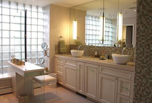 Modern Master Bathroom with Vessel sink, Carpet, Ceramic Tile, Flush, Corian counters, Flat panel cabinets, Double sink