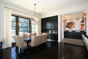 Contemporary Dining Room with Du chateau - vernal collection mocha hardwood flooring, Laminate floors, Built-in bookshelf