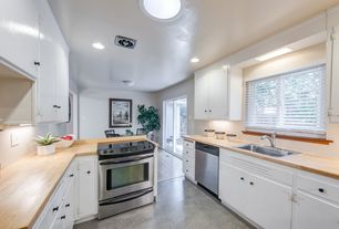Contemporary Kitchen with flush light, Breakfast nook, Brooks Custom Edge Grain Wood Countertops, U-shaped, Hardwood floors