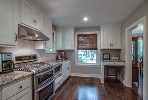 Traditional Kitchen with European Cabinets, Dura Supreme Cabinetry Hanover Panel, Flat panel cabinets, Subway Tile, One-wall