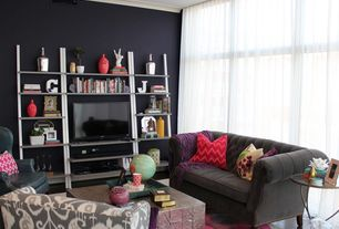 Eclectic Living Room with Hardwood floors, Area rug, Crown molding, floor to ceiling window, Sheer curtains, Paint