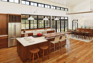 Contemporary Kitchen with Kitchen island, European Cabinets, Pendant light, French doors, Flush, Transom window, One-wall