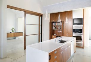 Asian Kitchen with Shoji door, High ceiling, European Cabinets, Flush, Concrete tile , Bamboo cabinetry, Undermount sink