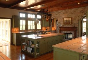 Traditional Kitchen with Paint 1, Double sided glass fireplace, Raised ceiling, All-Clad Copper Clad 10-Piece Cookware Set