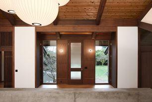 Modern Entryway with French doors, Exposed beam, Hardwood floors, Wall sconce