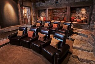 Rustic Home Theater with Exposed beam, can lights, Carpet, Standard height, Home theater seating, Columns