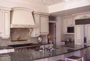 Traditional Kitchen with Crown molding, L-shaped, Slate Tile, specialty door, Stone Tile, Simple granite counters