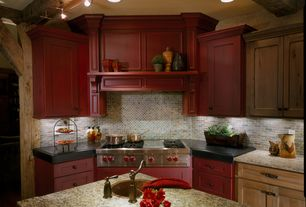 Country Kitchen with Stone mosaic backsplash, Simple granite counters, Stone Tile, Complex granite counters, Exposed beam
