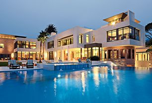 Tropical Swimming Pool with Infinity pool, Pathway, exterior stone floors, Pool with hot tub