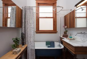 Traditional Full Bathroom with curtain showerdoor, Complex marble counters, shower bath combo, Bathtub, Standard height