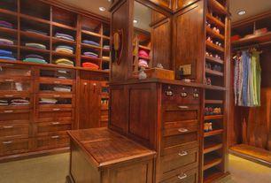 Craftsman Closet with Carpet, Standard height, can lights, Built-in bookshelf