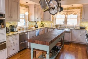 Country Kitchen with U-shaped, Flat panel cabinets, European Cabinets, Pendant light, Inset cabinets, two dishwashers