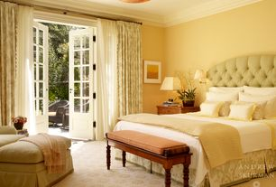 Traditional Master Bedroom with Standard height, Carpet, Crown molding, French doors, flush light