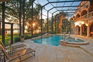 Mediterranean Swimming Pool with exterior concrete tile floors, Indoor pool, exterior tile floors, Fountain, picture window