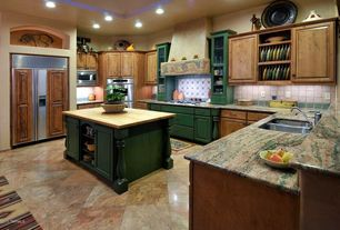Eclectic Kitchen with Raised panel, Complex granite counters, U-shaped, Undermount sink, High ceiling, Kitchen island