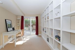 Modern Home Office with Standard height, Concrete floors, French doors