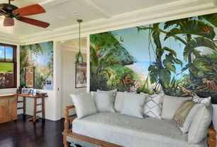 Tropical Living Room with Ceiling fan, Rainforest harmony mural, Crown molding, Wainscotting, Exposed beam, Pendant light