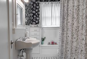Traditional Full Bathroom with Pedestal sink, Opus Muras Bloomsbury Collection Vanessa Wallcovering, Glass panel