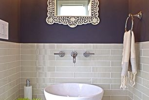 Contemporary Powder Room with Wall sconce, Powder room, Limestone counters, Corian- Designer White, partial backsplash, Paint