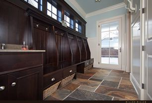 Traditional Mud Room with travertine floors, Crown molding, French doors, Wainscotting, Built-in bookshelf