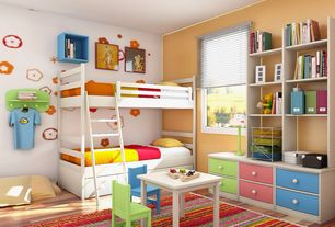 Traditional Kids Bedroom with Built-in bookshelf, Hardwood floors, Bunk Bed - Twin over Twin Mission White with Trundle